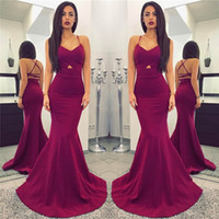 Wholesale Celebrity Fashion Cheap - Cheap Grape Sexy Mermaid Spaghetti Straps Evening Gowns Criss Corss Backless Sleeveless Sheath Formal Party Dresses Prom Celebrity