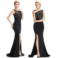 Wholesale Grace Karin Halter - Grace Karin New Black Sleeveless High-Split Long Evening Dress Sheer Back Sheath Column Ball Gown Evening Prom Party Dresses