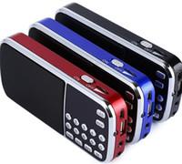 altavoces de música al por mayor-L-088 Altavoz portátil Reproductor de música MP3 Audio Altavoz de radio FM con linterna USB AUX TF Slot 50 piezas arriba