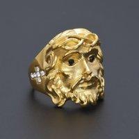 anéis de christ venda por atacado-Banhado A Ouro 24 K CZ 3D Cristo Cruz Jesus Piece Anel Mens Moda Chunky Dedo Bling Hip Hop Anel Tamanho 8-11