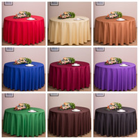 Wholesale Black White Tablecloth Cotton - Free by DHL,10 pieces,Satin Tablecloth Table Cover White Black Round for Banquet Wedding Party Decor 220*220CM