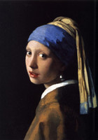 Wholesale Painting Earrings - Johannes Vermeer - The Girl With The Pearl Earring Scarf,Pure Hand-painted Figure Art Oil painting On canvas, In Any size customized