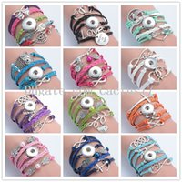 Wholesale Multicolor Bracelets For Women - New Multilayer Multicolor Charms Infinity Leather Button Bracelet Fit Noosa Chunks Ginger Snap Statement Jewelry for Women