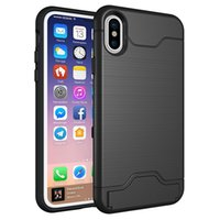 Wholesale Brushed Iphone Case - Hybrid Brush Cases With Card Slot Holder For IPhone X 8 7Plus 6S Note 8 S8 Plus Google Pixel XL 2
