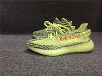 Wholesale Discount Men Shoes Wholesale - Kanye West 2017 New Boost 350 V2 Fluorescent Green Zebra Semi Frozen Yellow Blue Tint Running Shoes Wholesale Cheap Discount Sports Sneakers