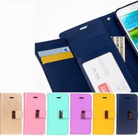 Wholesale Leather Covers For Diaries - Note5 S7 Mercury Rich Diary Wallet PU Leather Case TPU Cover with Card Slots Side Pocket for iPhone 5 6 Plus Samsung S6 Edge Note 4