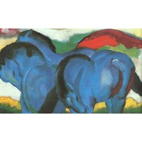Wholesale Marc Painting - Decorative modern paintings Franz Marc Small Blue Horses art for wall decor hand-painted oil on canvas