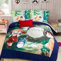 Wholesale Charcoal Quilt - CAH031- Multi-Choice Christmas Cartoon Totoro Comforter Set 3D Print Duvet Bedding Cover Pillow Cases Quilt Cover Bed Bedding Set