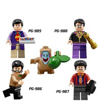 Wholesale Beatles Plastic - Building Blocks Minifigures Action Bricks The Beatles John Lennon Ringo Starr Paul George Kids Christmas Gift DIY Toys 4pcs set PG8030