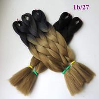 tonlar ombre saç 27 toptan satış-Kanekalon Sentetik Jumbo Örgü Saç Ombre Siyah / 27 renk Iki Ton 24 inç 100g Tığ Kutusu jumbo Örgüler Büküm Saç