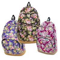 Wholesale Hobo Girls Women - Wholesale free shipping Women's Canvas Travel Rucksack Hobo School Bag Satchel Backpack Floral Printed Backpacks For Teenage Girls
