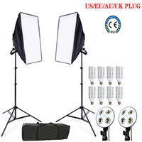Freeshiping 8pcs 24w LED E27 Bulb foto stuido Soft Box set video kit di illuminazione flash softbox riflettore materiale 2ps softbox 2ps supporti luminosi