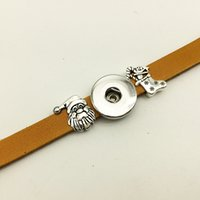 Wholesale Traditional Christmas Dress - Christmas Leather snap button Bracelet BT233 (fit 18mm 20mm snaps) party dress jewelry DIY