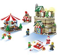 Wholesale Pull Santa - Happy Christmas Village architecture Merry-Go-Round Scene and Set Christmas Elk Pull Car Santa Claus House Blocks kids toy #1003
