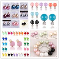 Wholesale Cc Jewellery - fashion Double Side Imitation Pearl Crystal earrings rhinestone 925 silver plated stud earrings Brand CC Jewellery
