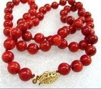 """Wholesale Genuine Red Coral Beads - Genuine LONG 18"""" 8mm Natural Japan Red Coral Round Beads Necklace AAA Grade"""
