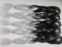 "Wholesale Super Cheap Ombre Hair - Cheap synthetic braiding 20"" folded length black grey two tone long braid ombre kanekalon super jumbo braids"