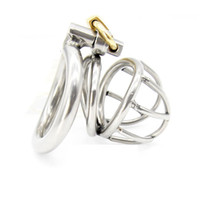 Wholesale male chastity smaller cage - Super Small Male Chastity Device 40MM Adult Cock Cage With Arc-shaped Cock Ring Sex Toys Stainless Steel Chastity Belt