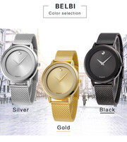 Wholesale Blue Water Watches - 2018 AAA Mens Fashion Wristwatches Male Female Dress Sport Quartz Battery Luxury Women Men Modern Wrist Watches Gift Clock Top Brand BELBI