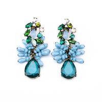 ingrosso pietra preziosa goccia d'acqua dell'orecchino-Orecchini di pietre preziose Orecchini pendenti lunghi Forma di goccia d'acqua blu Orecchini di goccia di cristallo blu per gioielli da donna Regalo di Natale