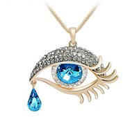 Wholesale Eye Growing - Free shipping The blue eyes crystal necklace grows a style not to fade in color a sweater chain new product wholesale