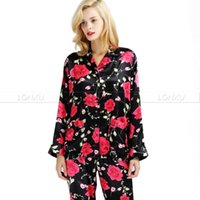 Wholesale Womens Satin Pajamas Xl - Womens Silk Satin Pajamas Set Pajama Print Pyjamas Set Sleepwear Loungewear S,M, L, XL, 2XL, 3XL Plus__Fit All Seasons