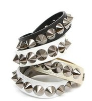 Wholesale Spiked Rope Bracelet - Fashion Punk Gothic Rock Leather Rivet Stud Spike Bracelet Cuff Bangle Wristband for women and men