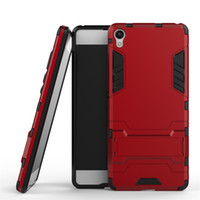 Wholesale E5 Phones - 2 in 1 Hybrid Armor Phone Back Cover for Sony Xperia E5 X Performance XA Z5 Premium PC+TPU Protective Shell Anti-knock Case with Stand