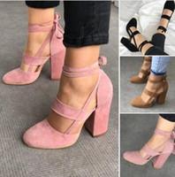 ingrosso pattini eleganti sexy di estate-Le più nuove donne eleganti cinturini alla caviglia sexy tacchi alti scarpe estate signore da sposa in pelle scamosciata sandali con tacco spesso partito Clubwear pompe