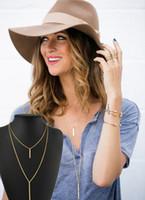 Wholesale Double Tassel Earrings - Fashion Simple Metal Gold Layered Tassels Pendant Long Necklace Double Layer Bar Stick Necklace & Pendant