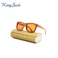 Wholesale Eyewear Wood Temples - KingSwit 2016 Square Bamboo Sunglasses Men & Women Wood Frame Brown Lens Eyeglasses Designer Bamboo Temple Eyewear With Original Case KW059