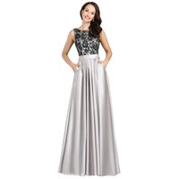 Wholesale Bridal Party Robes - Robe De Soiree 2016 New Fashion Evening Dresses Bridal Banquet Grey Lace Satin Sexy Long Prom Dress Custom Plus Size Formal Party Gown