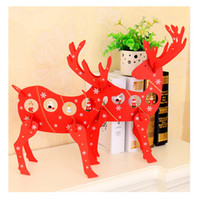 Wholesale Wooden House Decoration - Red Color Wooden Christmas Deer Elk Christmas Shopping Center Hotel Scene Decorative Decoration House Party Ornament