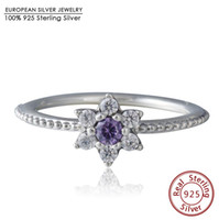 2016 New Spring Collection No me olvides con Clear Purple Cz Ring Anillos de plata esterlina 925 para joyería de boda de marca europea