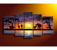 Wholesale Oil Painting African Sunset - African Landscape Painting Wall Art Decor Hand Paint Oil Painting Sunset Modern Artwork Frame Ready to Hang