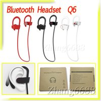Wholesale Ear Phones Iphone5 - Q6 Stereo Bluetooth Headset Wireless Bass Sound Sport Earphones For Samsung iPhone5 6 Mobile Phone Retail Package Free Shipping