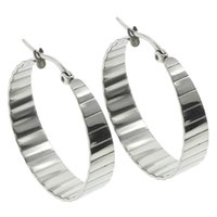Atacado- Frete grátis New Punk 1 par Silver-color Stainless Steel Hoop Earrings Womens Beautiful Wedding Jewelry Texted Hoop Earrings