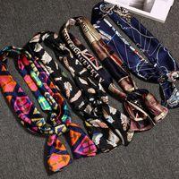 Wholesale Cool Silk Scarves - 20 Colors Women Small Silk Scarf Brand Stylish Satin Foulard Elegant Headband Ribbon Neck Cooler Headscarf