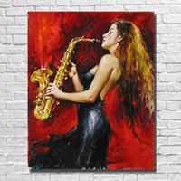 Wholesale artist picture - Artist Painted Saxophone Performance Oil Painting Modern Home Decor Hand Painted Pictures on Canvas Girl Painting No Framed