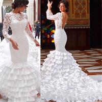 Wholesale Taffeta Robe - Lace Mermaid Bateau Backless Ruffles Long Sleeve Wedding Dress White robe de mariage Taffeta vestidos de novia Bridal Gowns