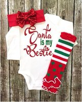 Wholesale Infant Foot Straps - 2016 Children Christmas Newborn Outfits Infant Baby Long Sleeve Cotton Rompers +Foot Straps + Headbands Three Piece  set