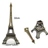 Wholesale Eiffel Decor - hot sale 1pc Bronze Paris Eiffel Tower metal Figurine Statue vintage Model Home Decors alloy Souvenir 32 CM