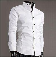 erkek için siyah şık gömlekler toptan satış-2015 YENI erkek Uzun Kollu Gömlek ücretsiz kesim ince şık Katı renk gömlek beyaz / siyah resmi erkek gömlek