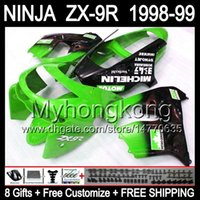 Wholesale 98 Zx9 Fairing Kits - 8Gifts Body For Green black KAWASAKI ZX9R NINJA ZX-9R 1998-1999 ZX 9R Y16153 ZX9 R Free shipping+ 98 99 Green red 1998 1999 Fairing Kit