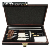 Wholesale Pistol Cleaning Set - New Shortgun Cleaning Set Fit For 4.5MM 5.5MM Rifle w Wooden Case Tactical Gun Pistol Brushes Kit Tool for Hunting Shooting 42pc