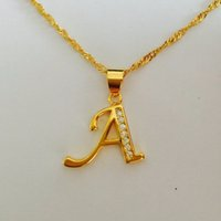 Wholesale 24k Gold Long Necklace Style - Fashion Elegance OL Style 24K gold plated letter A cz diament charm Long Pendant Necklace Factory Wholesale