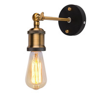 Wholesale Rustic Metal Wall Decor - AC90-260V E27 LED Vintage Wall Sconce Light Metal Home Wall Decor Simple Single Swing Wall Lamp Retro Rustic Light Fixtures Lighting