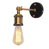 luminarias vintage al por mayor-Vintage luces de pared LED AC90-260V E27 Metal lámparas de pared decoración para el hogar Simple solo Swing lámpara de pared retro luces de iluminación rústica iluminación
