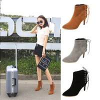 Wholesale Short Wedding Dress Boots - New Autumn and Winter Fashion Ladies High-heeled Short Boots Cross Straps Rough Heel Martin Boots Women Leather Boots women dress