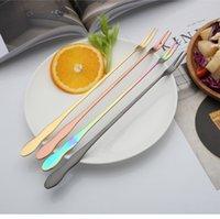 ingrosso lunghe barre d'acciaio-Forchetta a manico lungo Forchetta in acciaio inox Torta Dessert Forchette multicolor Accessori per posate da cucina